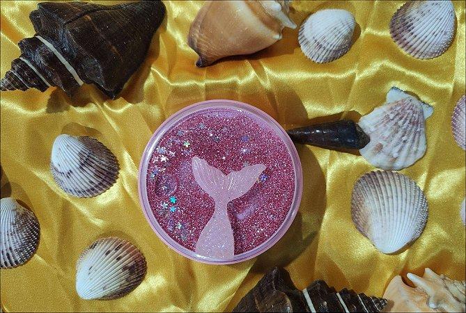 Kit Estojo (case) Luxo com Glitter para viagem Sereia Rosa