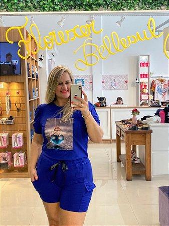 Conjunto Florescer Coração Azul de Verão