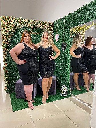 Vestido Realist Plus Size Paetê Luxo