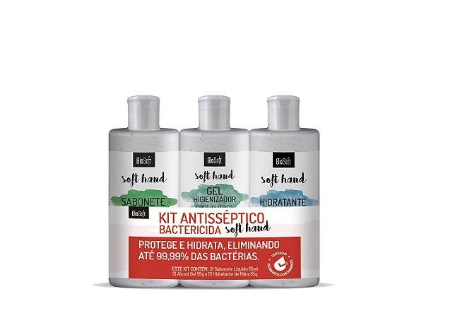 Kit Antisséptico (Sabonete 65ml, Gel 55g e Hidratante 65g) biosoft