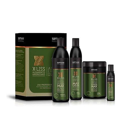 Kit X-Liss Alisamento Americano (Ativador max 500ml, Neutralizante max cream 280g, Power max 1kg, Protector max 120ml) Soft Hair Professional