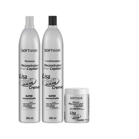 kit Reconstrutor Lisa Soft Hair (SH 280ml, Cond 280ml e Máscara 240g)