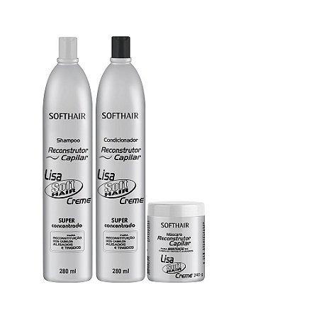 kit Reconstrutor Lisa Soft Hair (SH 280ml, Cond 280ml e Máscara 240g)