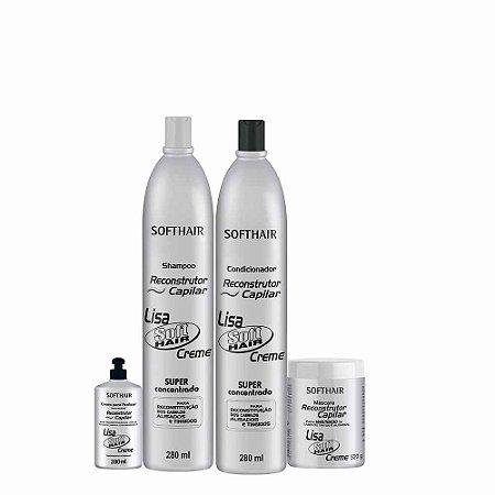 kit Reconstrutor Lisa Soft Hair (SH 280ml, Cond 280ml  Máscara 520g e creme de pentear 280ml)