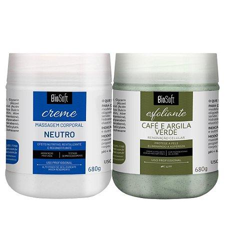 Kit Prom. Creme de massagem neutro 680g + creme esfoliante café e argila verde 680g Biosoft