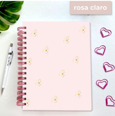 Basic Planner - Hot Stamping Flores - Rosa Claro
