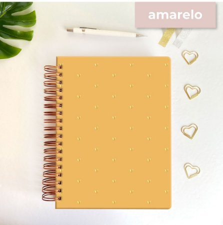 Life Planner - Hot Stamping Corações - Amarelo mostarda