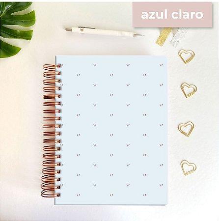 Life Planner - Hot Stamping Corações - Azul claro