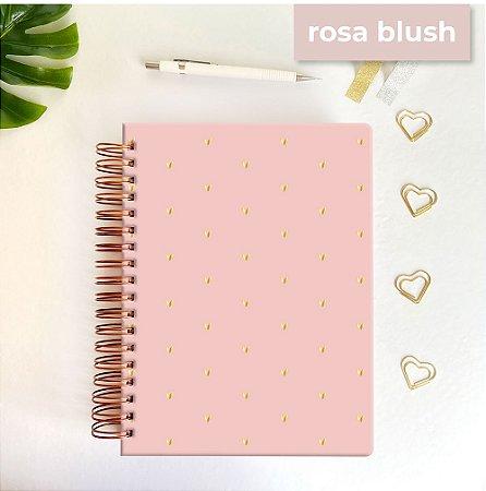 Life Planner - Hot Stamping Corações - Rosa blush