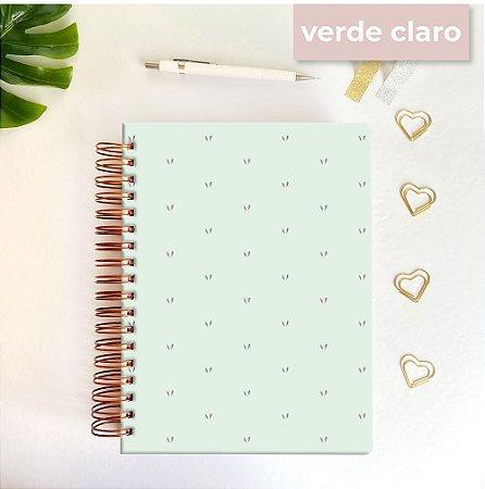 Life Planner - Hot Stamping Corações - Verde claro