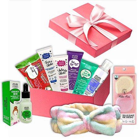 Kit Cuidados Com A Pele Skin Care + Esponja Facial Com Caixa Para Presente