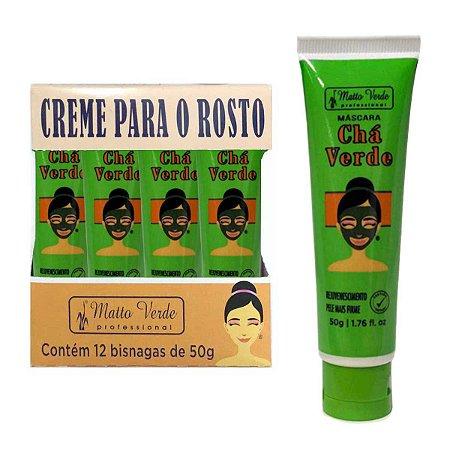 Máscara Facial Chá Verde Rejuvenecimento Matto Verde - Display com 12 Unidades