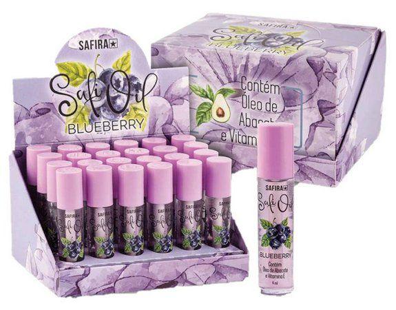 Lip Oil HIdratante Labial Blueberry com Oléo de Abacate e Vitamina E Safira - DIsplay 24 Unidades