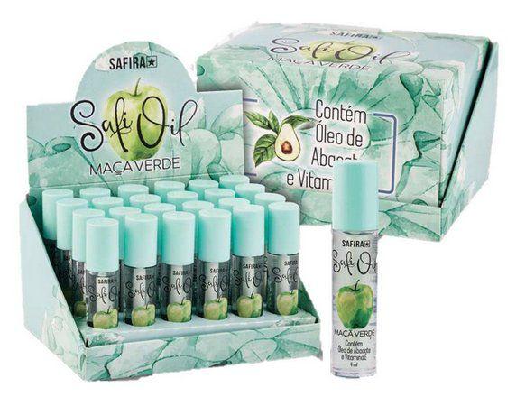 Lip Oil HIdratante Labial Maça Verde com Oléo de Abacate e Vitamina E Safira - DIsplay com 24 Unidades