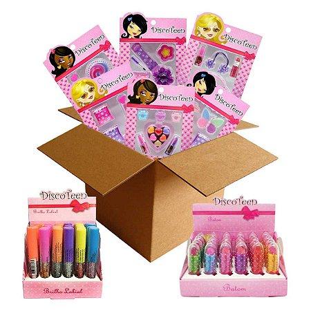 Kit Revenda Maquiagem Infantil Gloss Batom Discoteen - 54 Itens