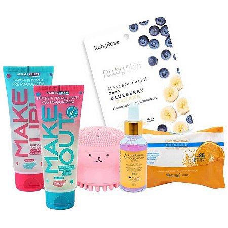 Kit Skincare Limpeza Facial E Cuidados Com A Pele Ruby Rose e Dermachem