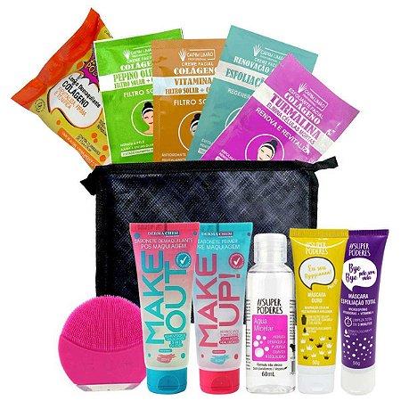 Kit Limpeza De Pele E Cuidados Facial Necessaire + ESPONJA
