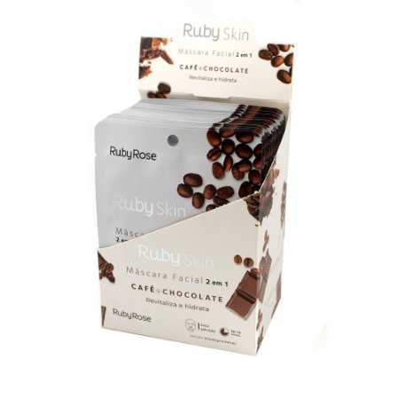 Mascara Facial de Tecido Café + Chocolate Ruby Rose - 24 Unidades