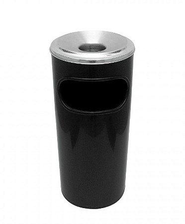 Cinzeiro Lixeira Plástica com Aro em Alumínio 22L