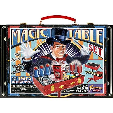 Kit de Mágica com Maleta e Mesa em Madeira - 150 Mágicas
