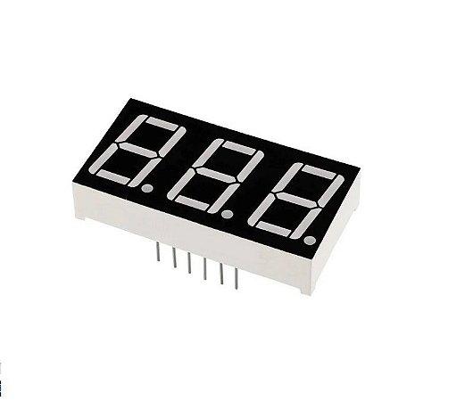 "Display 7 segmentos 3 dígitos - vermelho - 0,56"" CATODO comum - máscara preta"