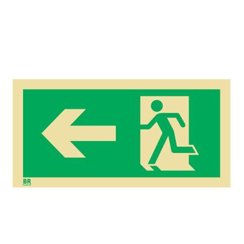 Placa Saída de Emergência Esquerda S2 12X24cm Fotoluminescente