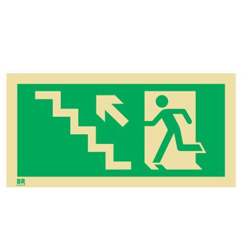 Placa Saída de Emergência Sobe Escada Esquerda S10 12X24cm Fotoluminescente