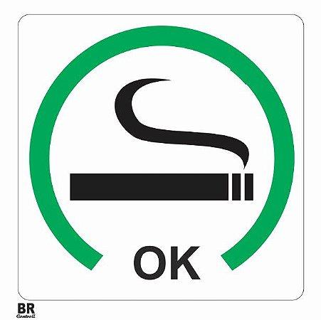 Placa Branca Permitido Fumar 20X20cm