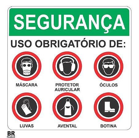 Placa Branca Segurança Uso Obrigatório de Epi's (Avisos) 20X20cm