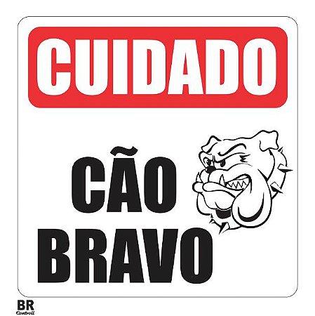 Placa Branca Cuidado Sinalização Cão Bravo 20X20Cm