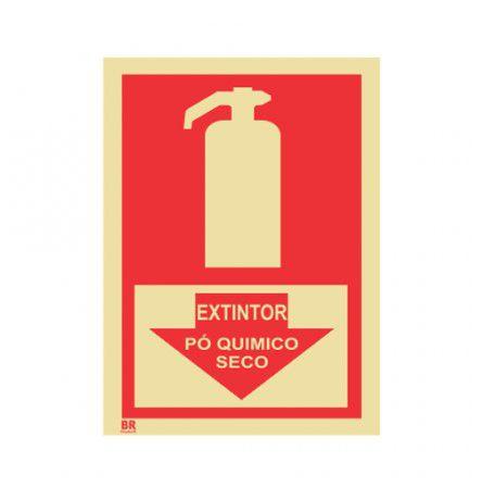 Placa Extintor Pó Quimico Seco Seta 15X20cm Fotoluminescente