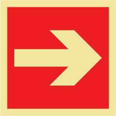 Placa Seta Multidirecional E13 - E14 Vermelha 15X15cm Fotoluminescente