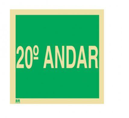 Placa 20º Andar S17 15X15cm Fotoluminescente