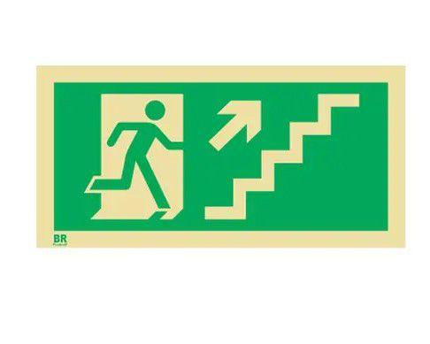 Placa Saída de Emergência Escada Sobe Direita S11 20x40cm Fotoluminescente