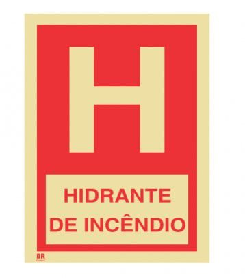 Placa Hidrante de Incêndio 15x20cm Fotoluminescente