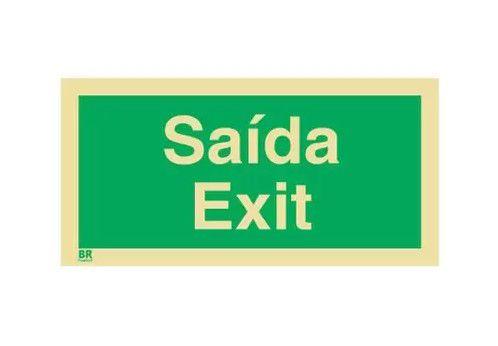Placa Saída Exit 20x40 Fotoluminescente
