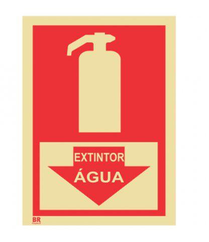 Placa Extintor Água 15X20cm Fotoluminescente