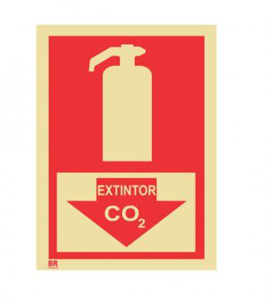 Placa Extintor CO² Seta 15X20cm Fotoluminescente