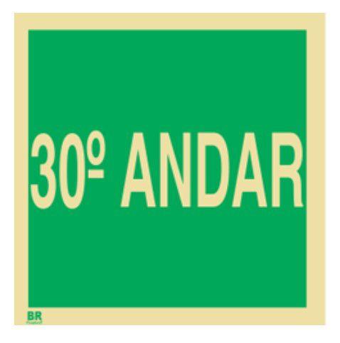 Placa 30º Andar S17 15x15cm Fotoluminescente