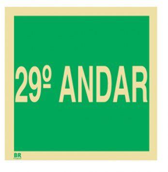 Placa 29º Andar S17 15x15cm Fotoluminescente