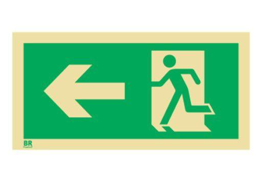 Placa Saída de Emergência Esquerda S2 15X30cm Fotoluminescente