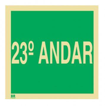 Placa 23º Andar S17 15x15cm Fotoluminescente