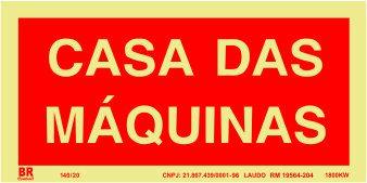 Placa Casa Das Maquínas Vermelha 12x24cm Fotoluminescente