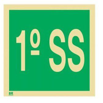 Placa 1º Subsolo S17 15X15cm Fotoluminescente