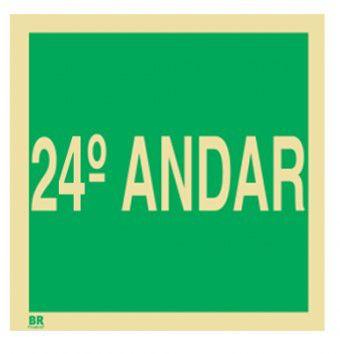 Placa 24º Andar S17 15X15cm Fotoluminescente
