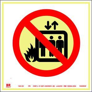 Placa Não Usar em Caso de Incêndio (Elevador) P4 15x15cm Fotoluminescente
