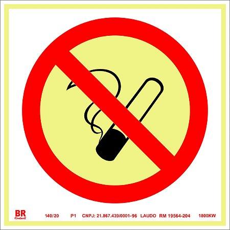 Placa Proibido Fumar P1 30x30cm Fotoluminescente