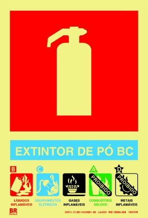 Placa Extintor de Pó BC 15x20cm Fotoluminescente