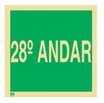 Placa 28º Andar S17 15X15cm Fotoluminescente