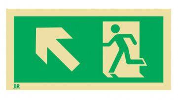Placa Saída de Emergência Sobe Esquerda S5 20x40cm Fotoluminescente